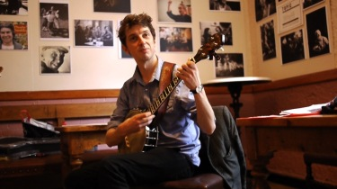 Playing banjo at Cecil Sharp House