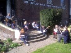 Outdoor banjo workshop