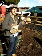 Playing banjo on Spitalfields City Farm